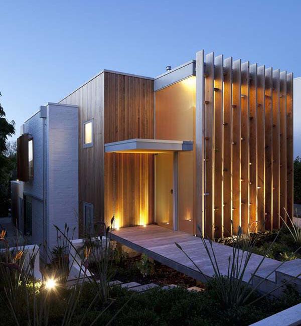 Thiết kế biệt thự hiện đại được bao bọc gỗ tự nhiên